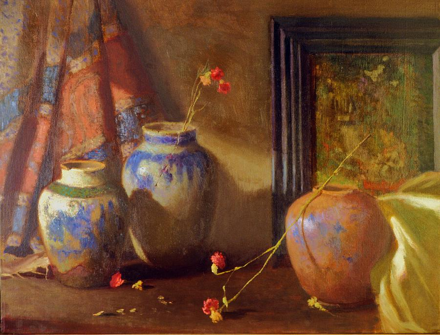 Three Vases With Impressionist Painting In Background Painting by David Olander