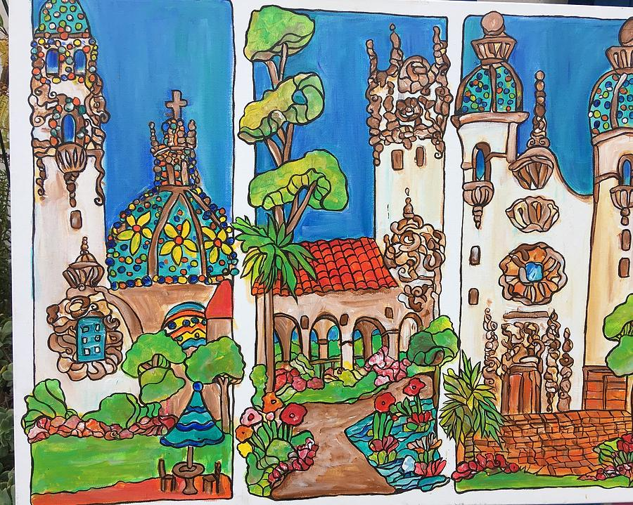 Three Views Of Balboa Park Painting By Michelle Gonzalez