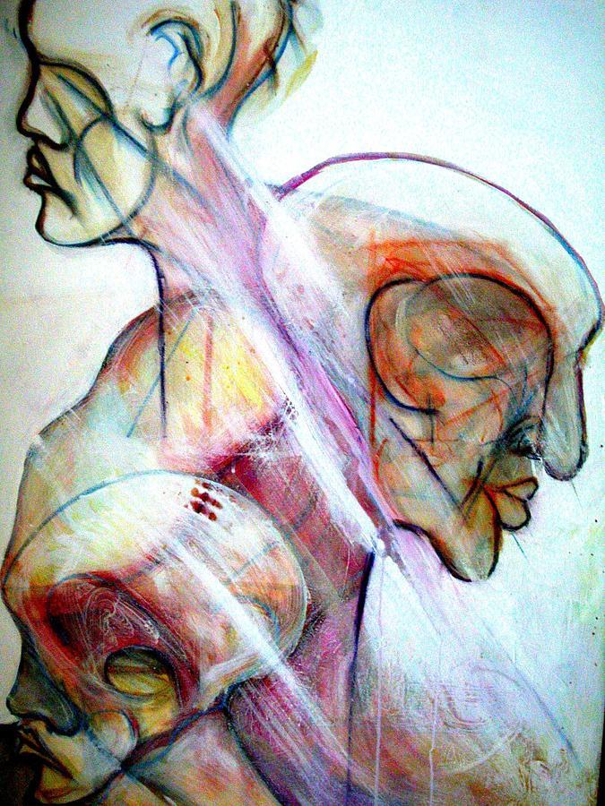 Nappy Head Art Painting - Three Visions by Robert Daniels