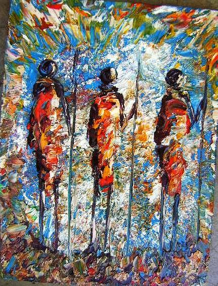 Cultural Painting - Three Warrious by Joseph Muchina