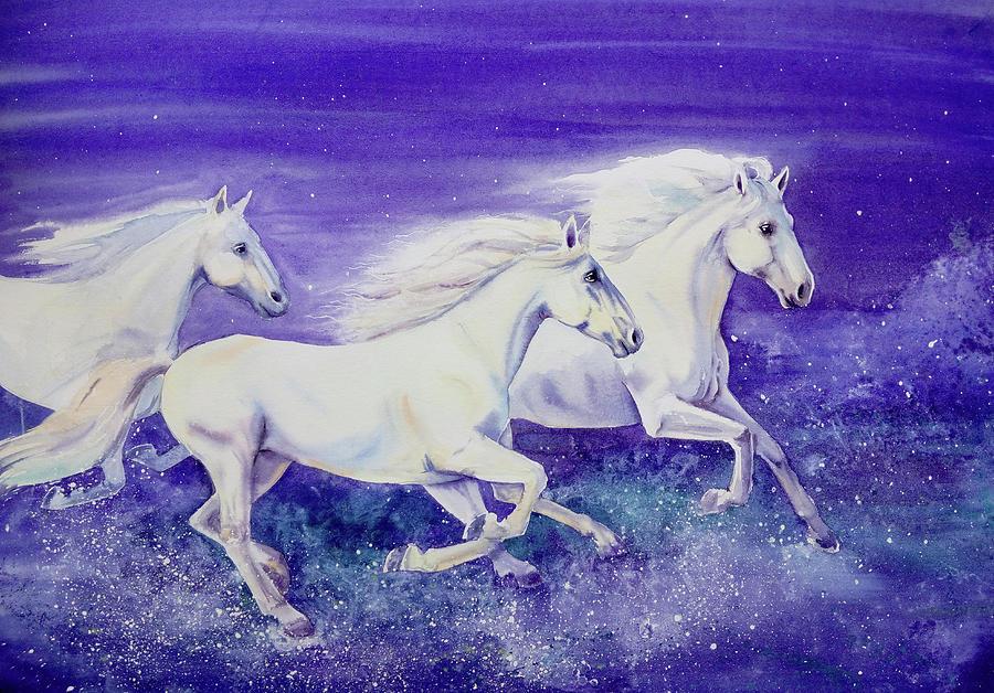 Three White Running Horses Painting By Olga Belyaeva