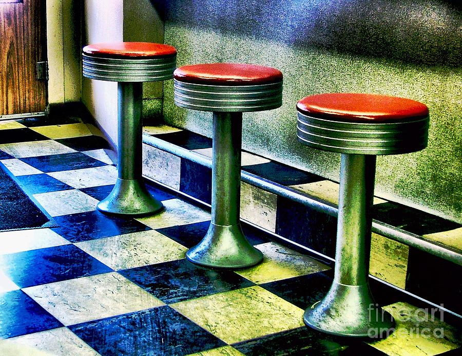 Retro Photography Photograph - Three White Steamer Stools by Julie Dant