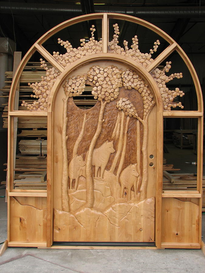 Wood Carved Doors Sculpture - Three Wolves by Stacey Mitchell