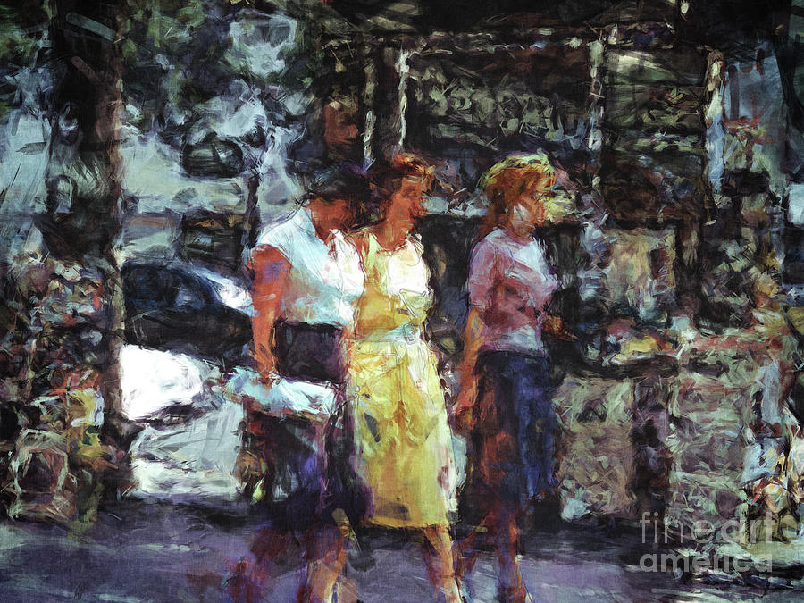 Women Digital Art - Three Women In Town by Phil Perkins