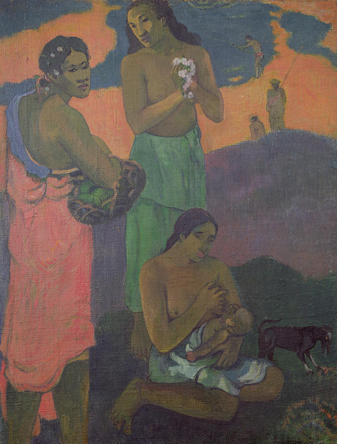 Maternity Painting - Three Women On The Seashore by Paul Gauguin