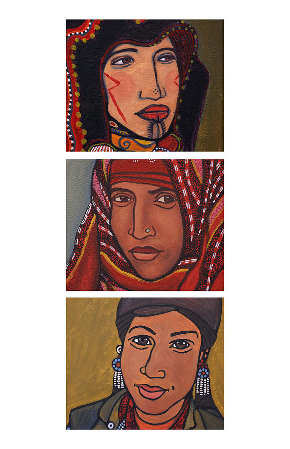 Triptych Painting - Three Women Triptych by Sarita Role Schaffer