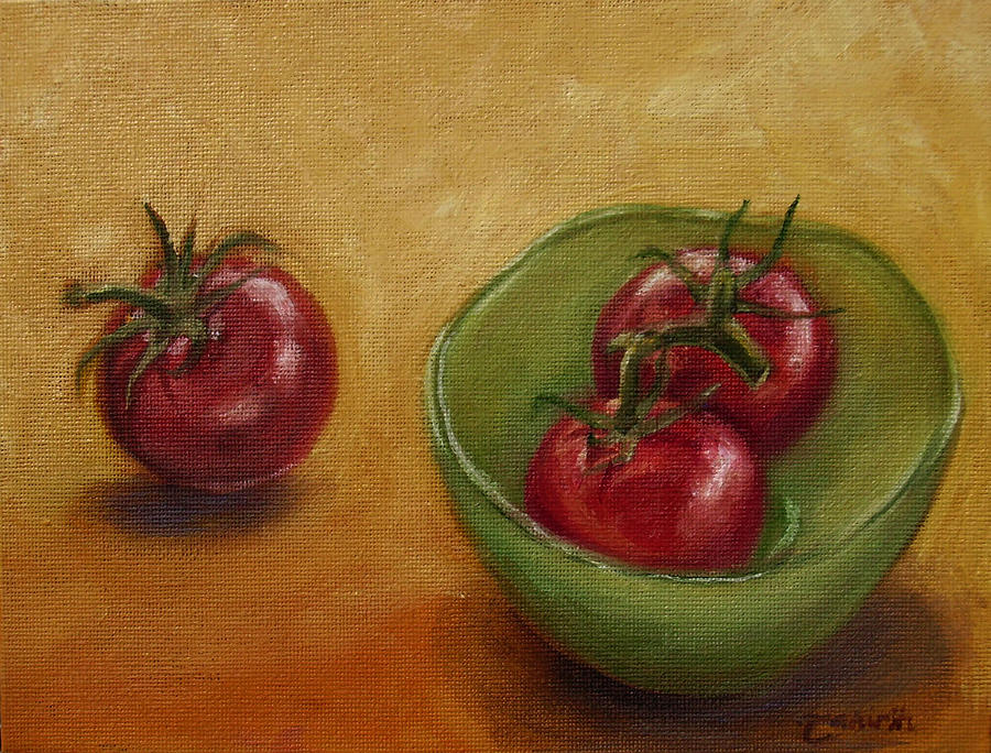 Food Painting - Threes A Crowd by Tahirih Goffic