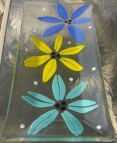 Fused Glass Glass Art - Threes Company by Judy Jones