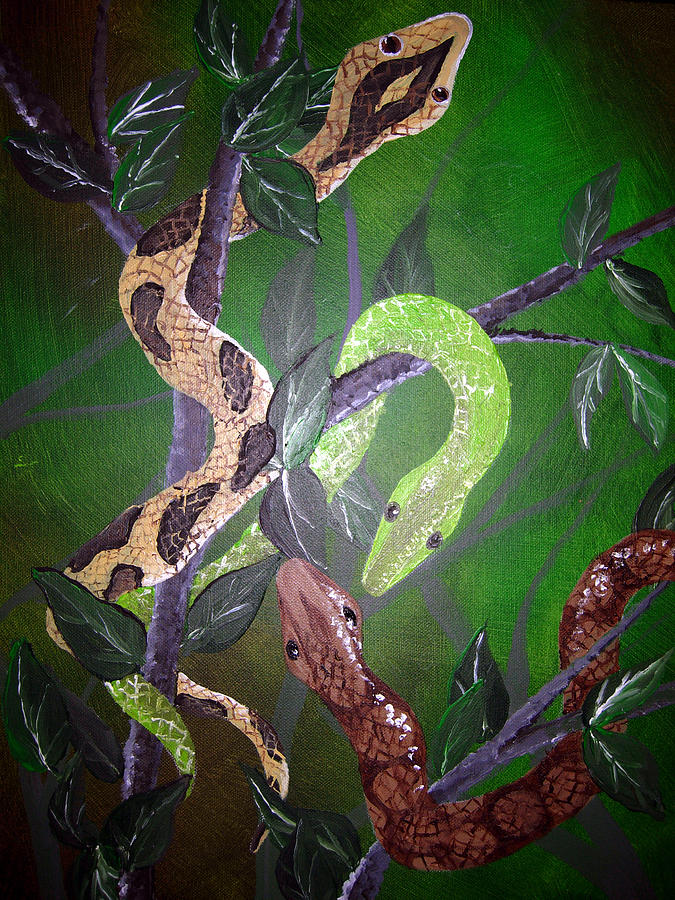 Snake Painting - Threes Company by Sharon Supplee