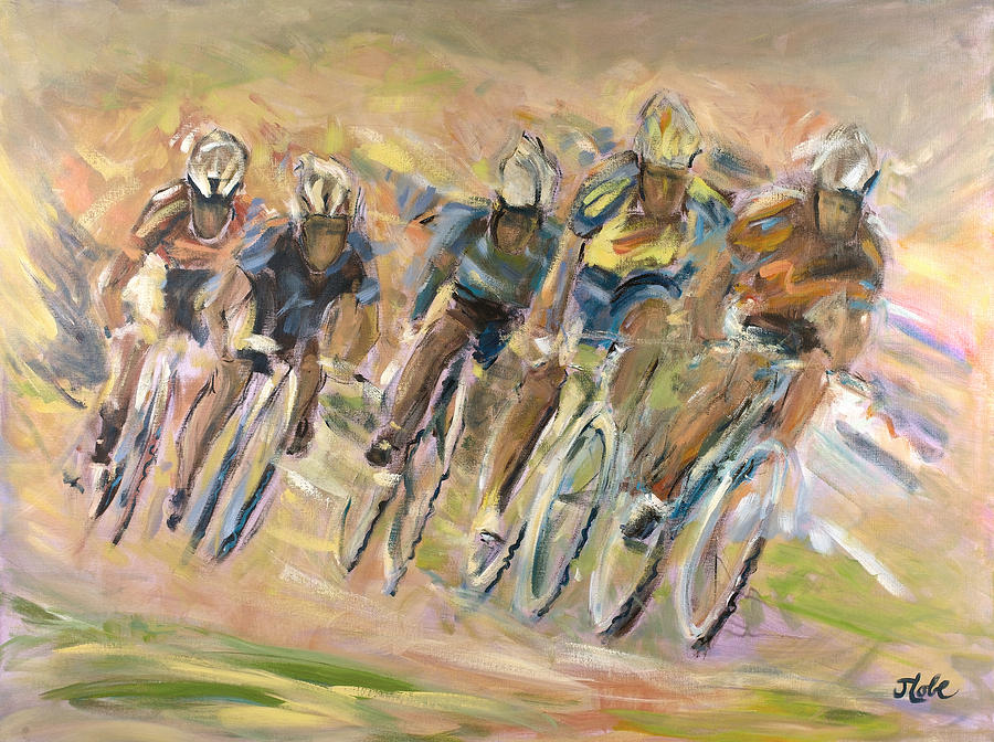 Cyclists Painting - Thrill Of The Chase by Jude Lobe