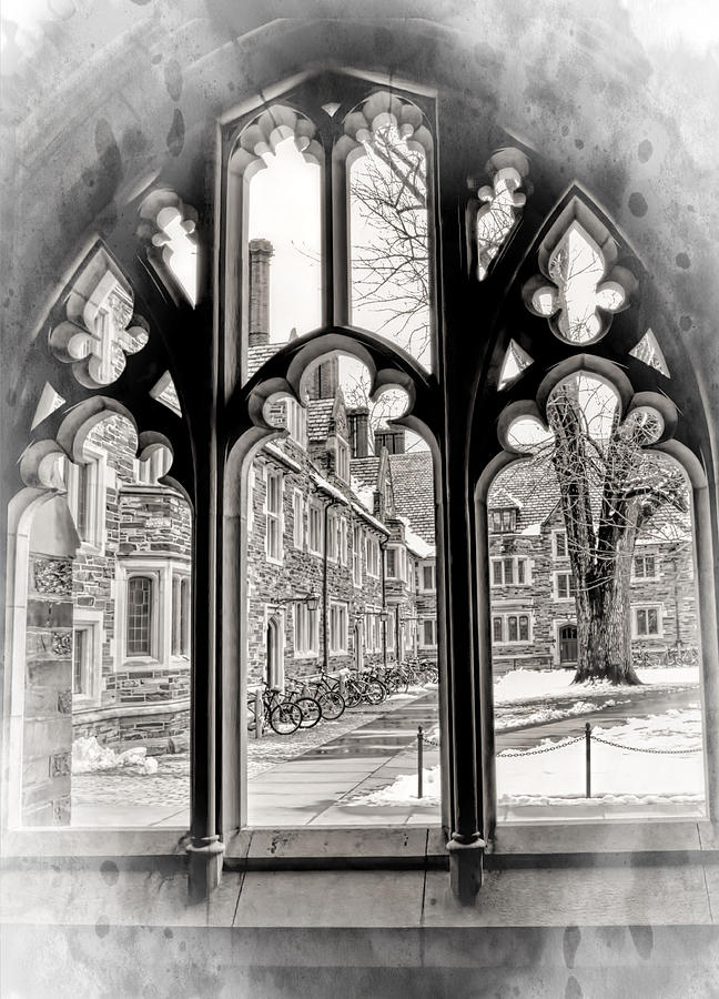 Through A Gothic Framed Window At Princeton University Photograph
