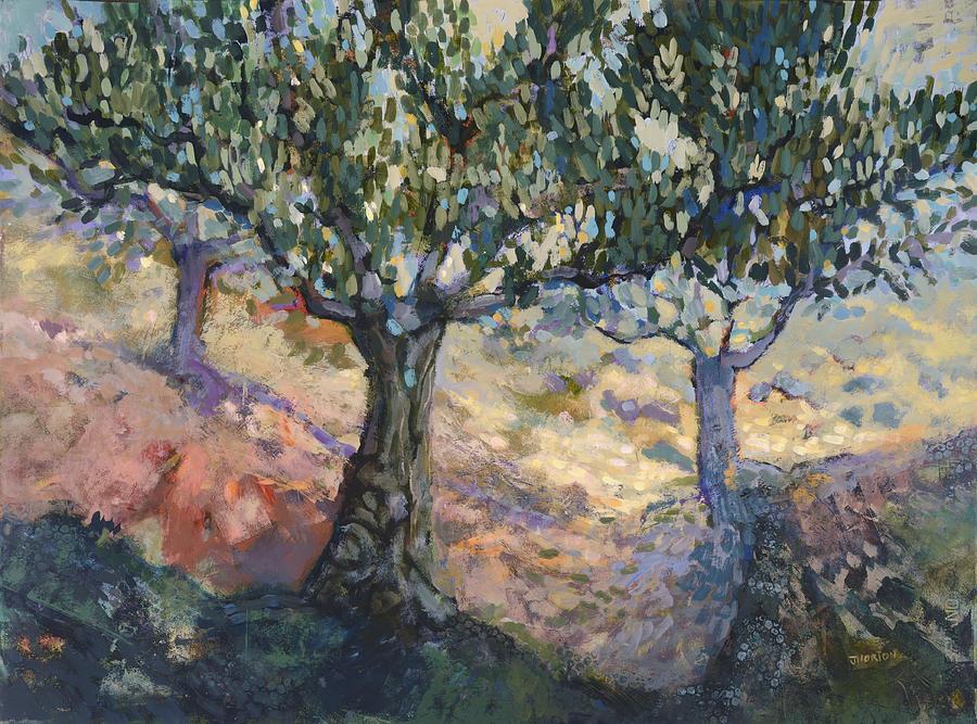 Colorful Landscape Painting - Through Ancient Olives by Jen Norton