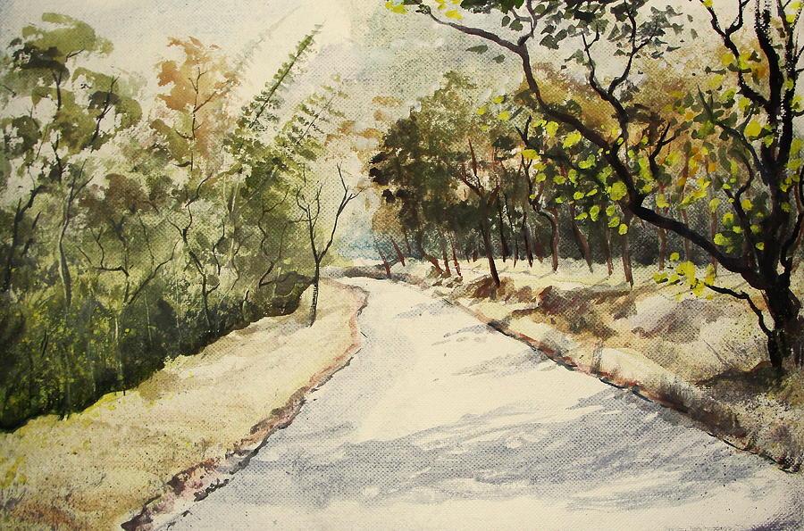 Landscape Painting - Through Mudumalai Forests by Mrutyunjaya Dash
