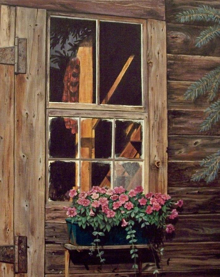 Cabin Painting - Through The Cabin Window by Lynda  Lawrence