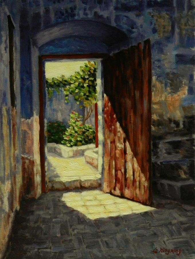 Ningning Painting - Through The Door Peru Impression by Ningning Li & Through The Door Peru Impression Painting by Ningning Li