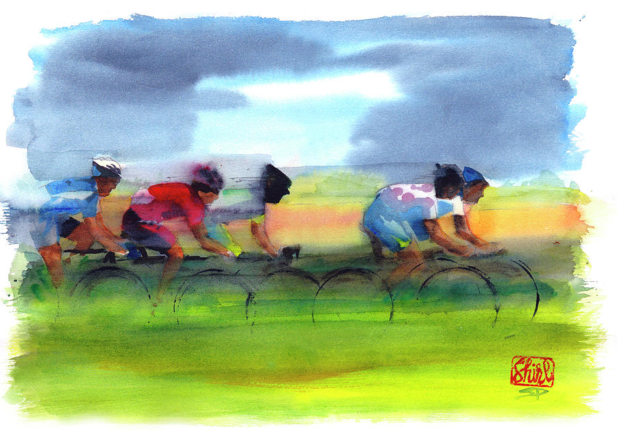 Le Tour De France Painting - Through The Fields 2011 by Shirley Peters