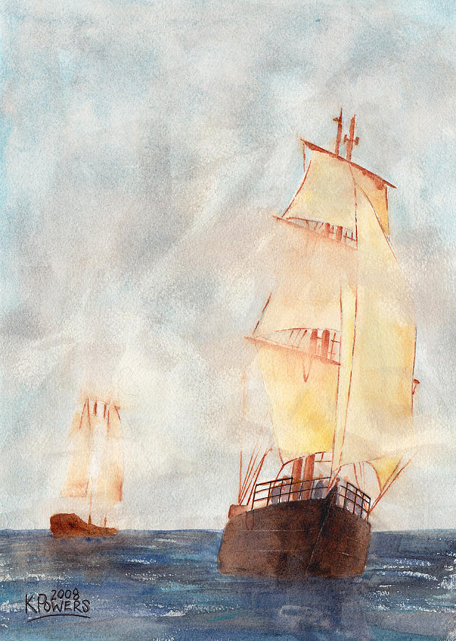 Ship Painting - Through The Fog by Ken Powers