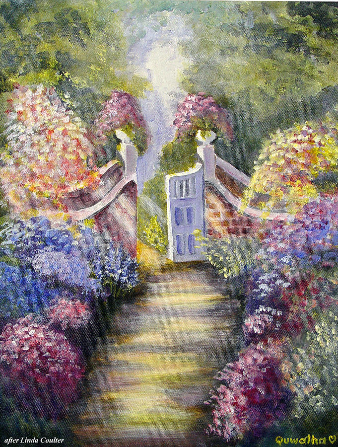 Flowers Painting - Through The Garden Gate by Quwatha Valentine
