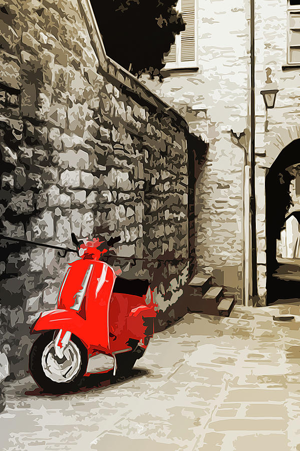 Piaggio Painting - Through The Streets Of Italy - 01 by Andrea Mazzocchetti