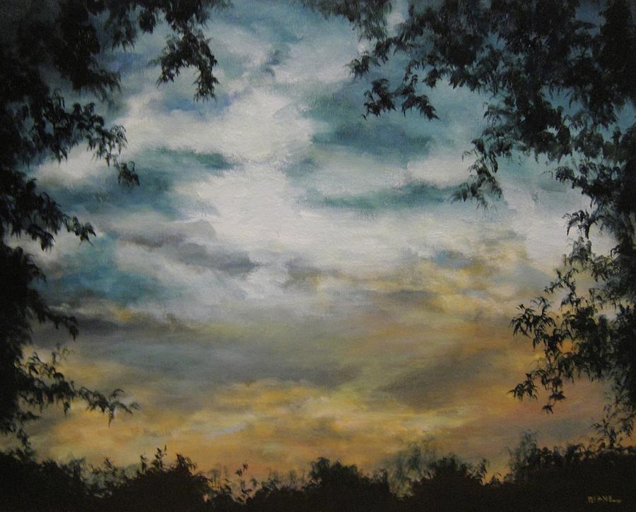 Trees Painting - Through The Trees by Diane Kraudelt