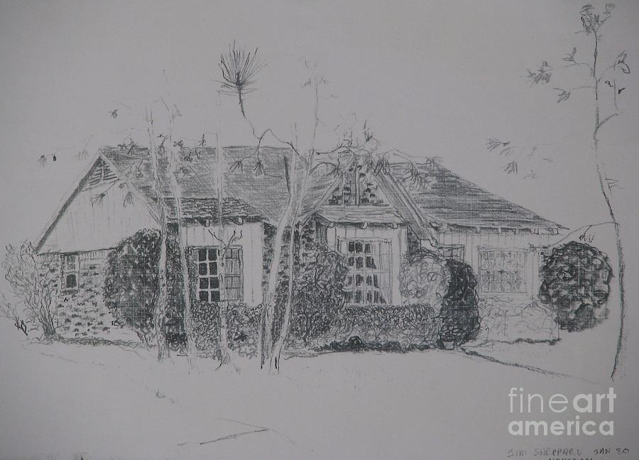 House In The Woods Drawing - Through The Woods To Grandmother by James SheppardIII
