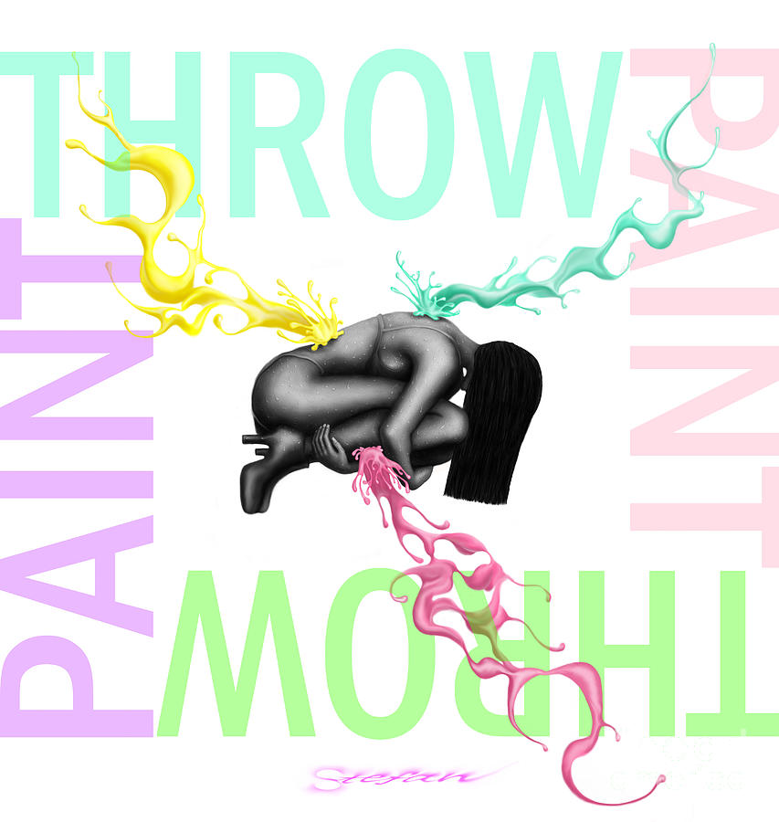 Typography Digital Art - Throw paint by Stefan Barbuceanu