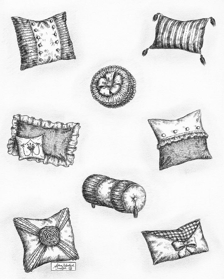 Black Drawing - Throw Pillows by Adam Zebediah Joseph