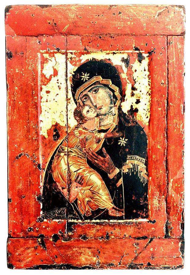 Russian Icon - Copy Painting - Ththe Virgin Eleusa Of Vladimir - 17 Century by Evgeni  Andreev
