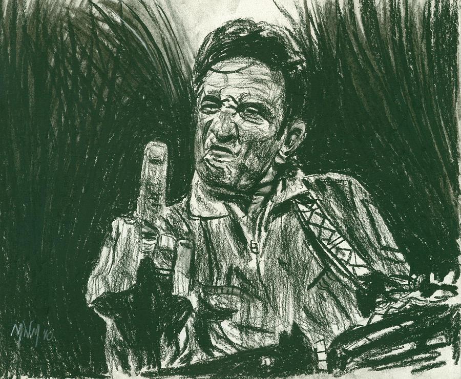 Johnny Cash Drawing - Thumbs Up by Michael Morgan