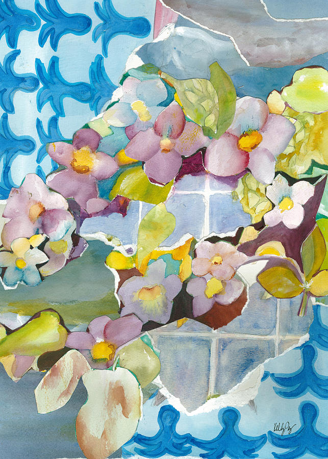 Floral Painting - Thunbergia Collage by Kelly Perez