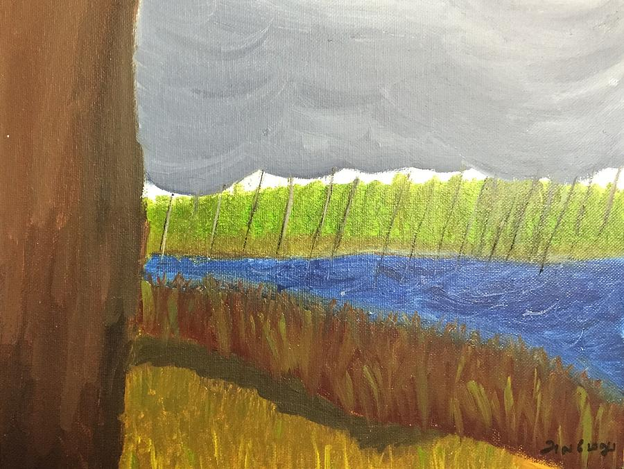 Landscape Painting - Thunder clouds, rain and river in spate by Ramya Sundararajan
