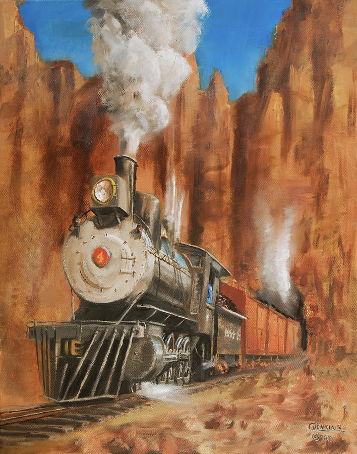Railroad Painting - Thunder In Cathedral Canyon by Christopher Jenkins