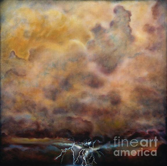 Landscape Painting - Thunder Lightning And Rain by Linda Vallejo
