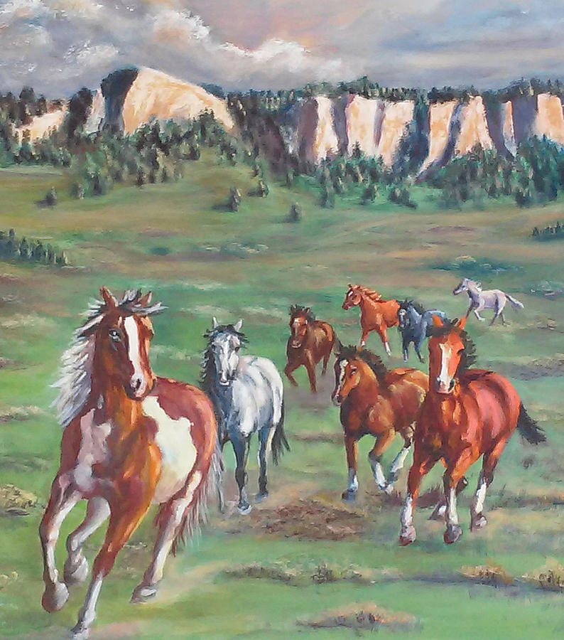 Horses Painting - Thunder On The Pine Ridge by Jean Ann Curry Hess