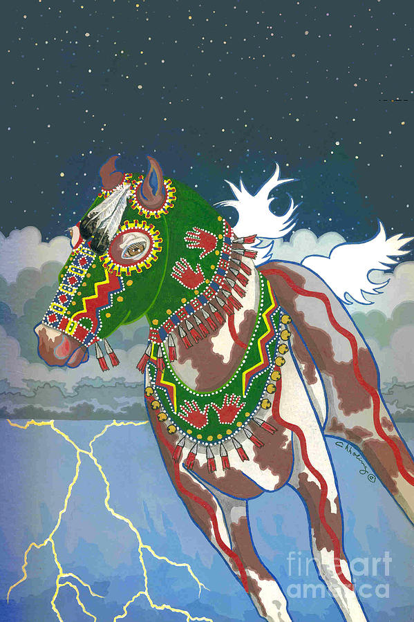 Native American Painting - Thunder Pony I by Chholing Taha