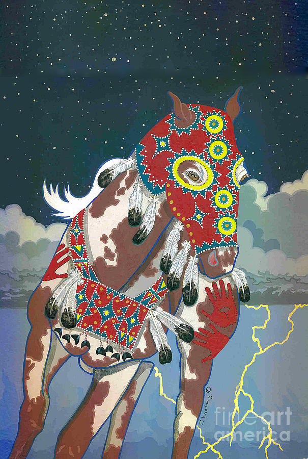 Native American Artwork Painting - Thunder Pony II by Chholing Taha