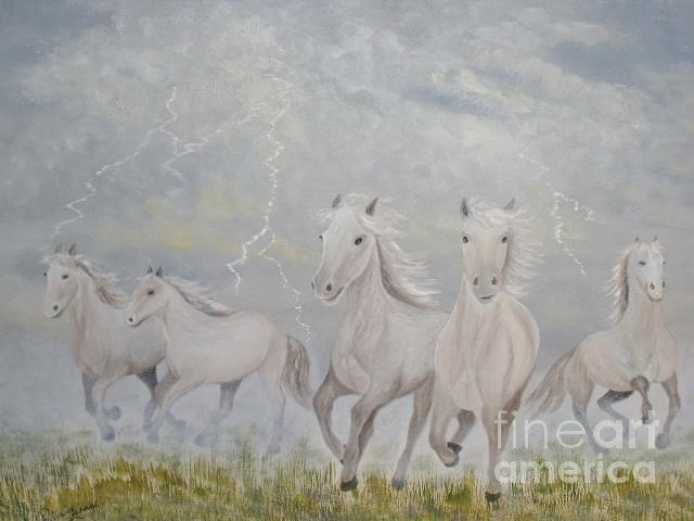 Horses Greeting Card - Thunder Storm by Patti Lennox