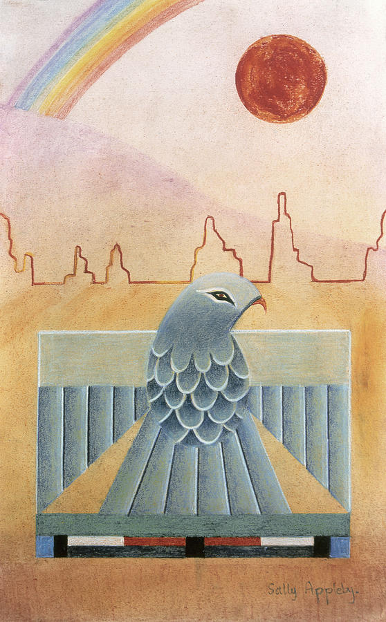 Rainbow Mixed Media - Thunderbird And Rainbow by Sally Appleby