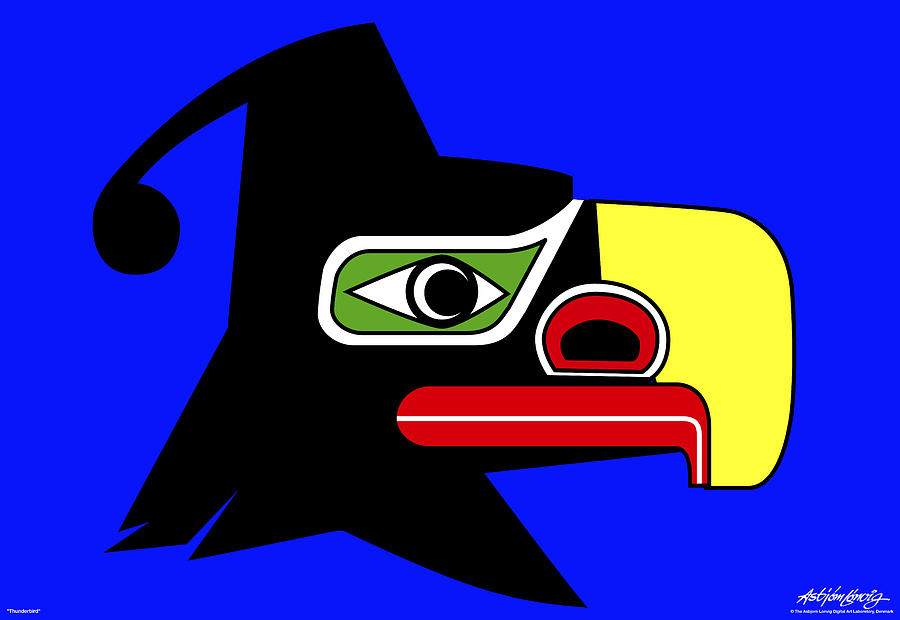 Thunderbird Painting - Thunderbird by Asbjorn Lonvig