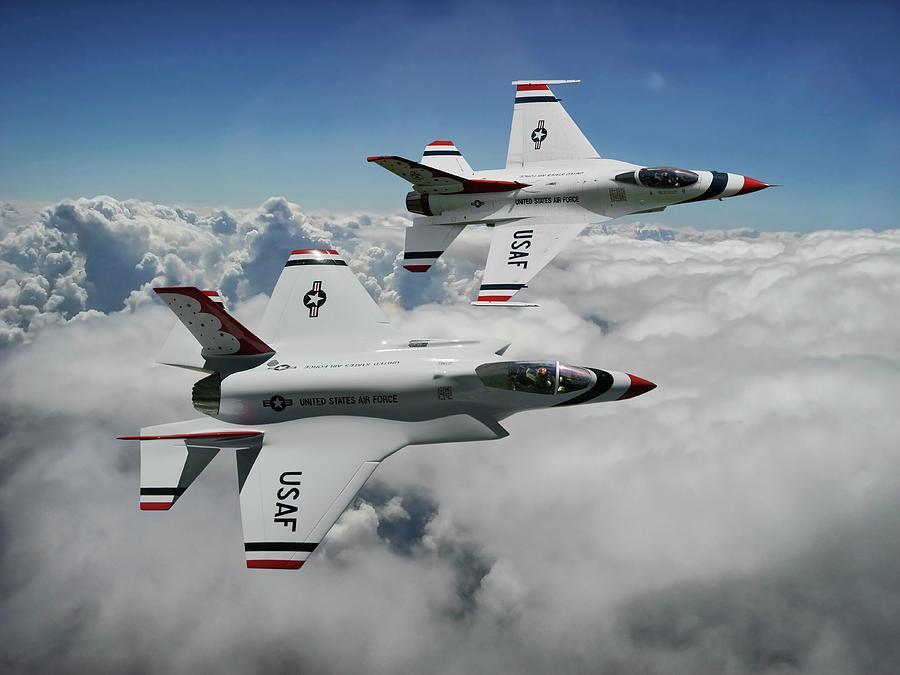 Joint Strike Fighter Mixed Media - Thunderbirds Of The Future by Erik Simonsen