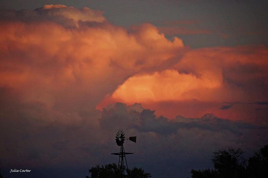 Thunderhead sunset windmill by Julie Carter
