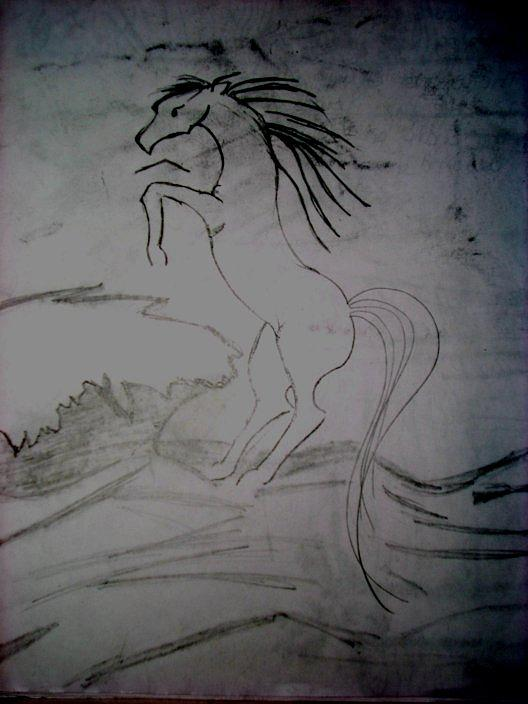 Horse Drawing - Thunderhooves by Samantha  Howe