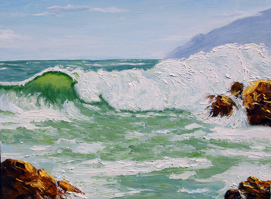 Ocean Painting - Thundering Surf by Lorraine Foster