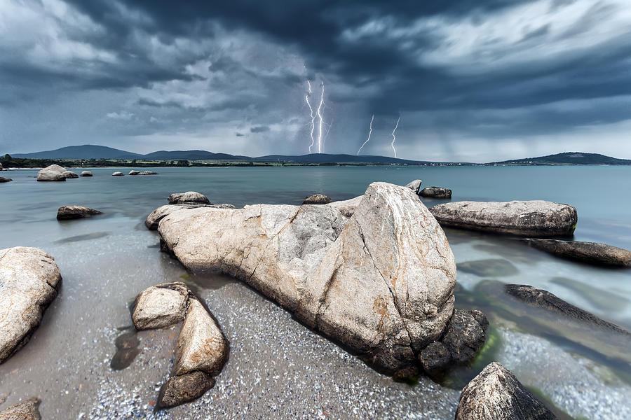 Black Sea Photograph - Thunderstorm  by Evgeni Dinev