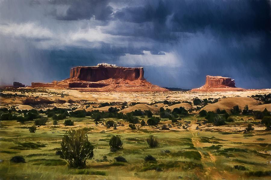 Thunderstorms Approach A Mesa Digital Art