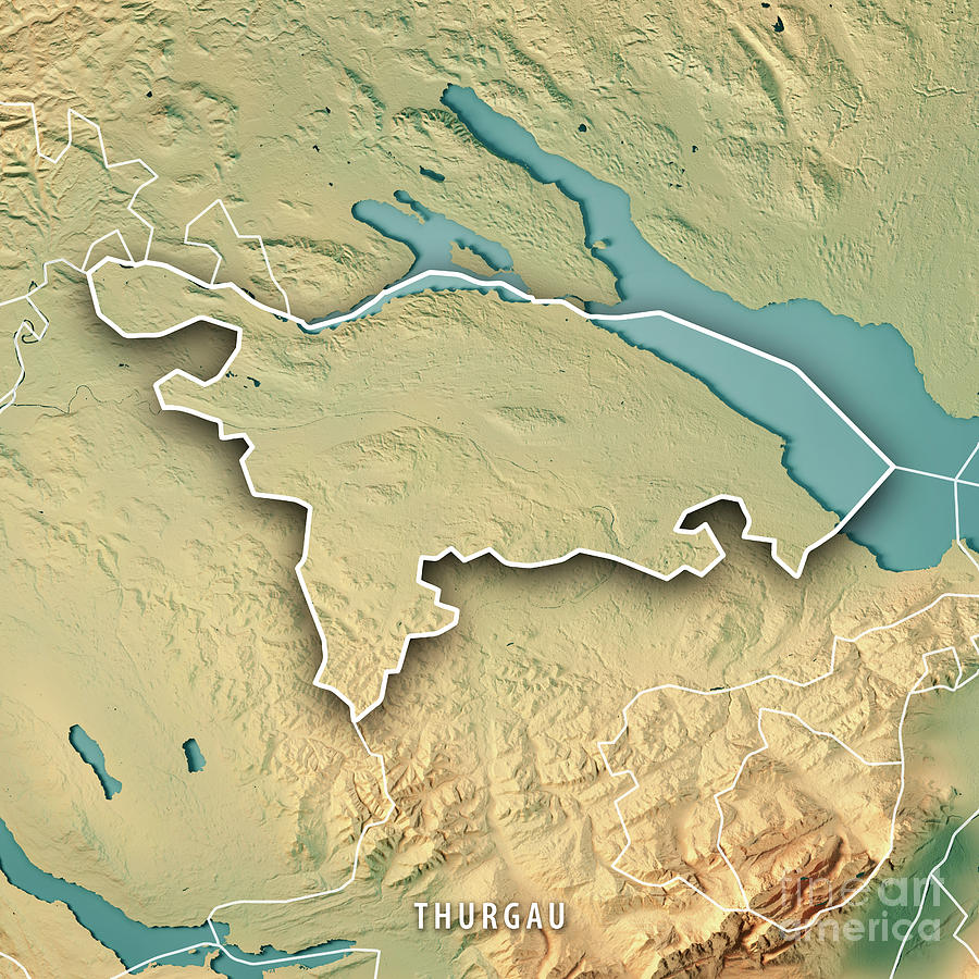 Thurgau Canton Switzerland 3d Render Topographic Map Border
