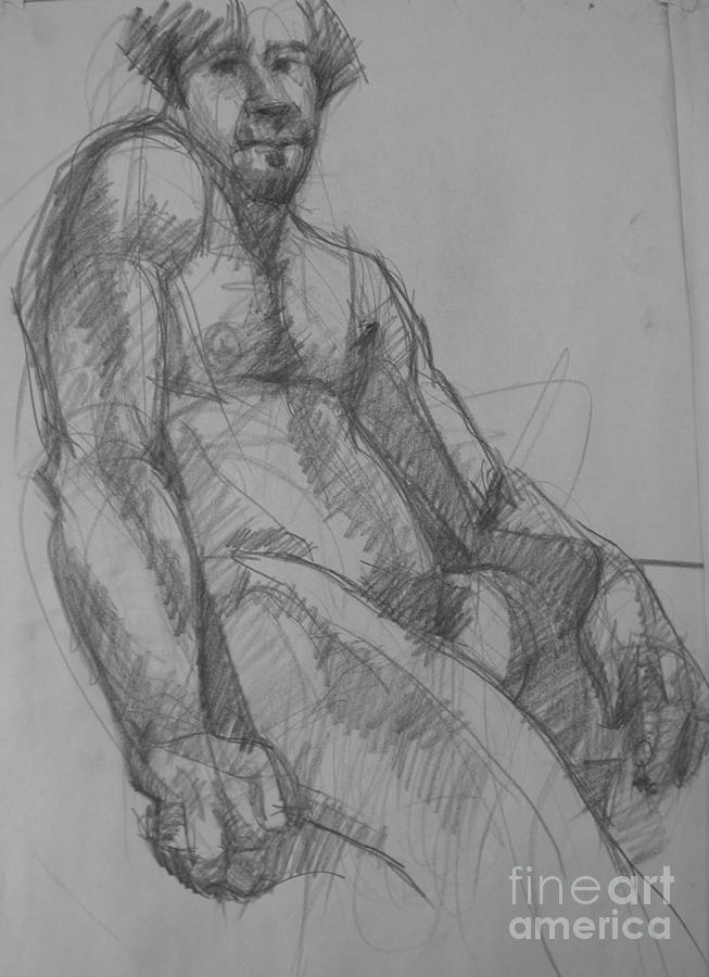 Male Nude Drawing - Thursday evening by Nancy Delpero