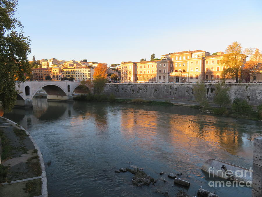 Rome Photograph - Tiber River Early Morning by Laurie Morgan