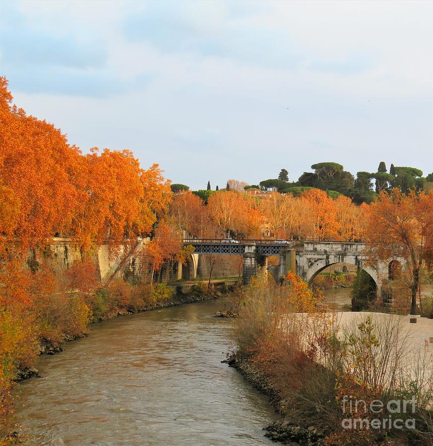 Rome Photograph - Tiber River In Autumn 2 by Laurie Morgan