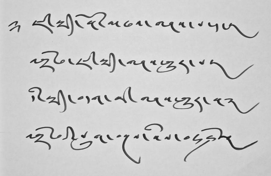 Tibetan Calligraphy Drawing by Ngawang Lodoe